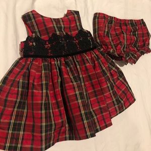 Red Plaid baby holiday dress, with bloomers 9 mo